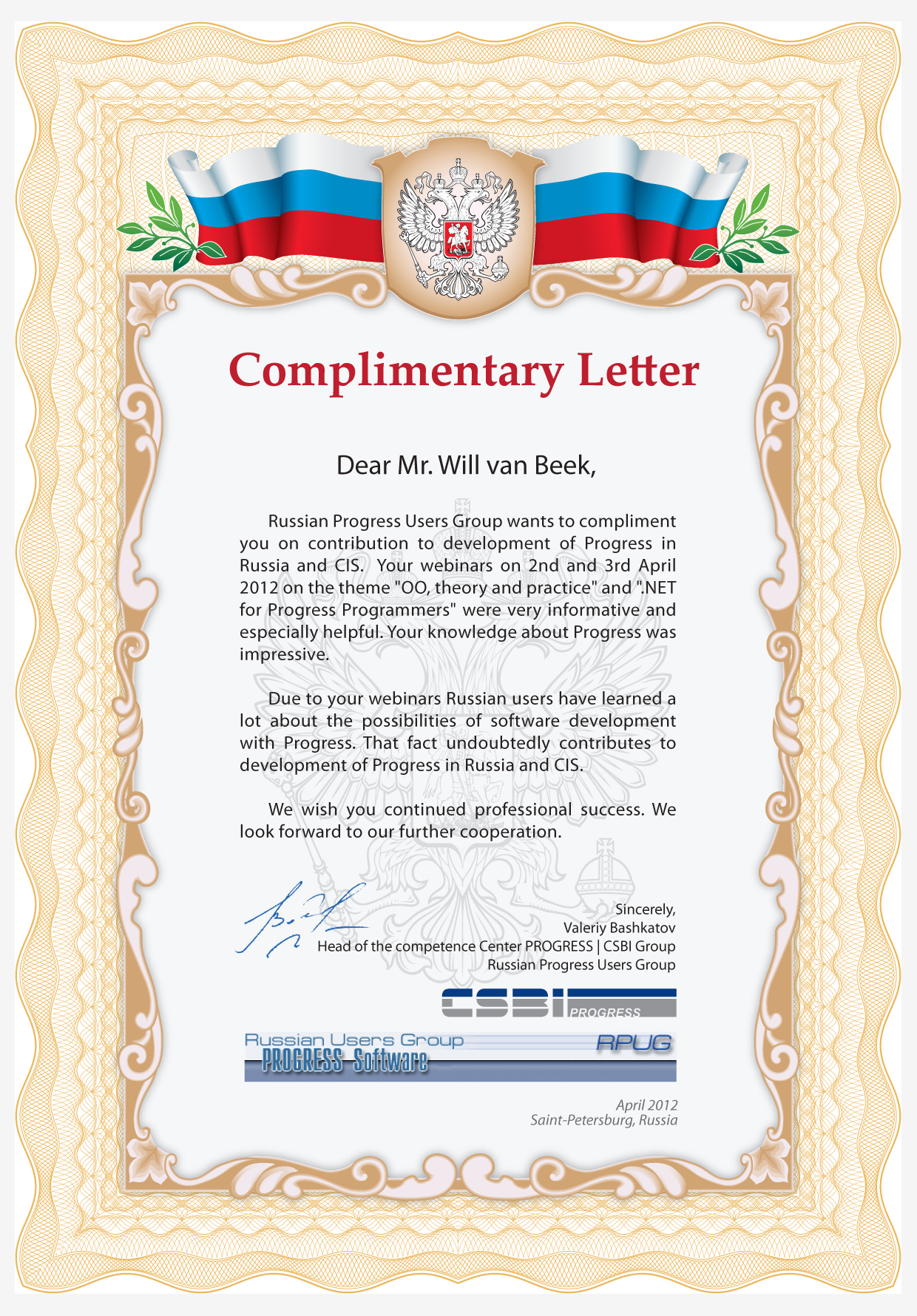 Complimentary Letter (Will van Beek)